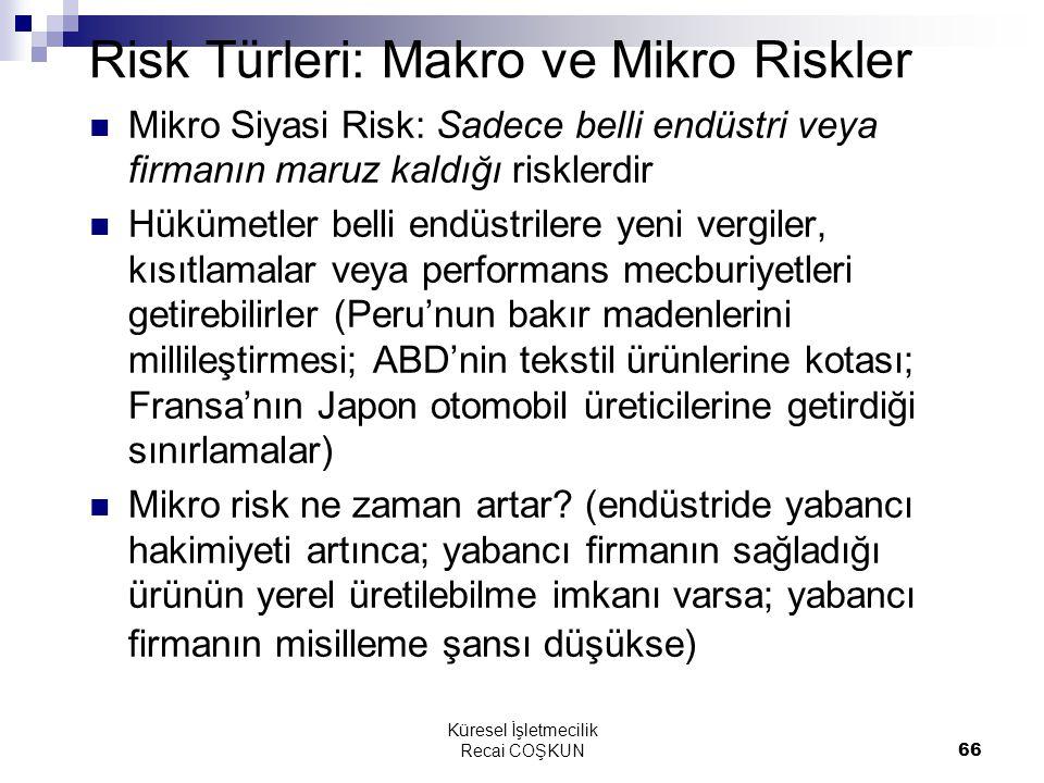 Küresel İşletmecilik Recai COŞKUN66 Risk Türleri: Makro ve Mikro Riskler Mikro Siyasi Risk: Sadece belli endüstri veya firmanın maruz kaldığı risklerd
