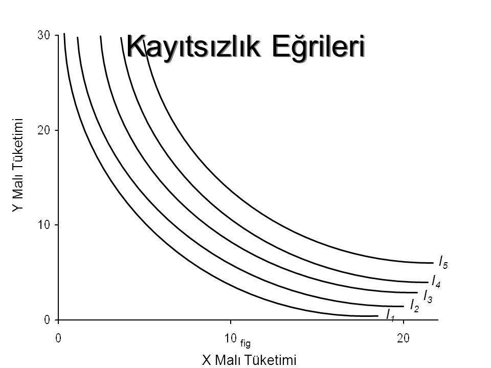 fig Y Malı Tüketimi X Malı Tüketimi I1I1 I2I2 I3I3 I4I4 I5I5 Kayıtsızlık Eğrileri