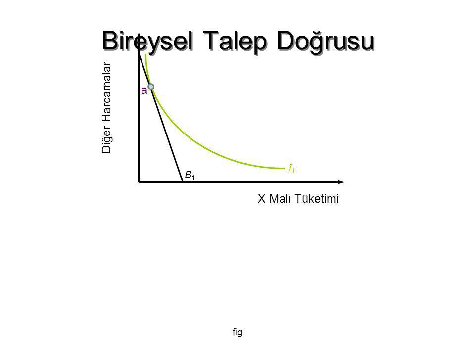 fig Bireysel Talep Doğrusu B1B1 I1I1 Diğer Harcamalar X Malı Tüketimi a