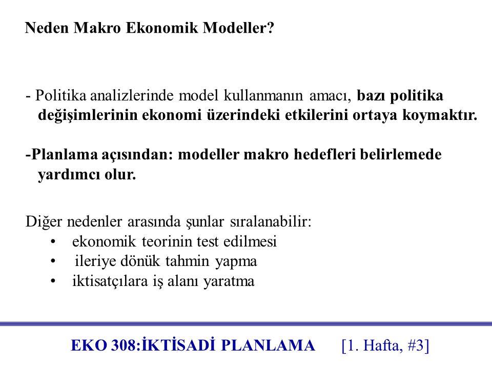 EKO 308:İKTİSADİ PLANLAMA [1.Hafta, #3] Neden Makro Ekonomik Modeller.