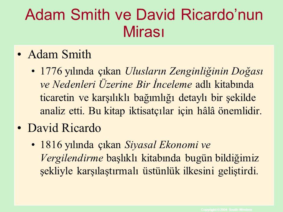 Copyright © 2004 South-Western Adam Smith ve David Ricardo'nun Mirası Adam Smith 1776 yılında çıkan Ulusların Zenginliğinin Doğası ve Nedenleri Üzerine Bir İnceleme adlı kitabında ticaretin ve karşılıklı bağımlığı detaylı bir şekilde analiz etti.