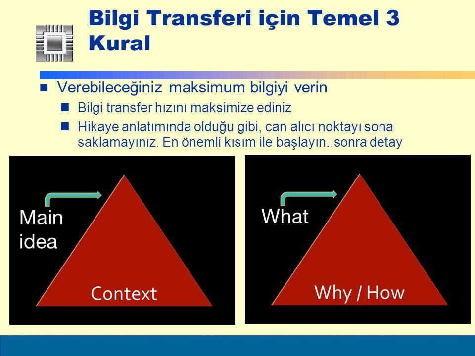 ELEC6021 Bilgi Transferi için Temel 3 Kural Verebileceğiniz maksimum bilgiyi verin Bilgi transfer hızını maksimize ediniz Hikaye anlatımında olduğu gibi, can alıcı noktayı sona saklamayınız.