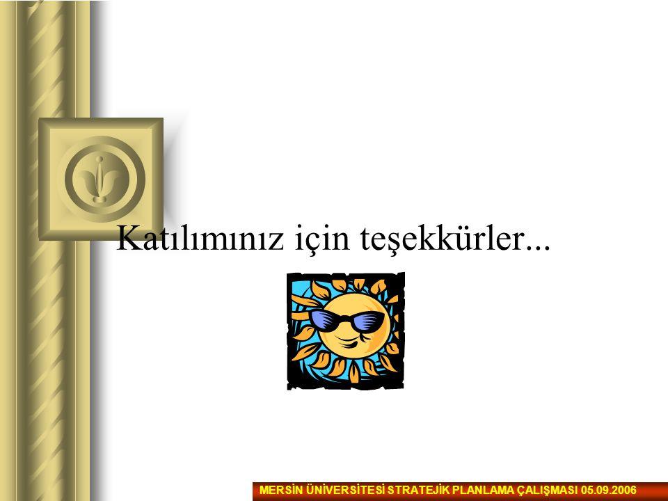 Katılımınız için teşekkürler... MERSİN ÜNİVERSİTESİ STRATEJİK PLANLAMA ÇALIŞMASI 05.09.2006