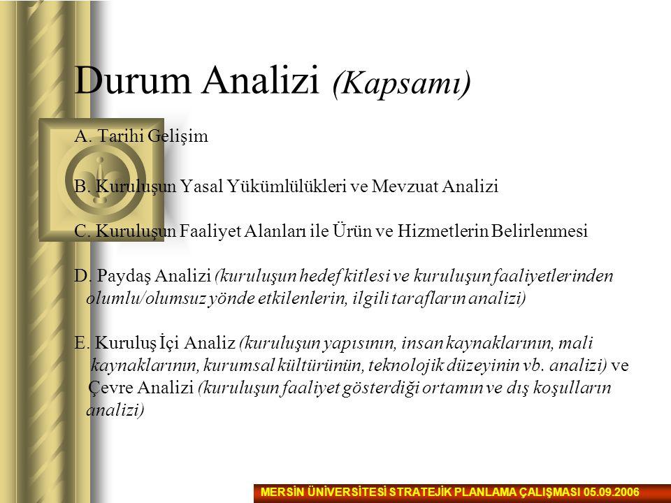 Durum Analizi (Kapsamı) A.Tarihi Gelişim B. Kuruluşun Yasal Yükümlülükleri ve Mevzuat Analizi C.