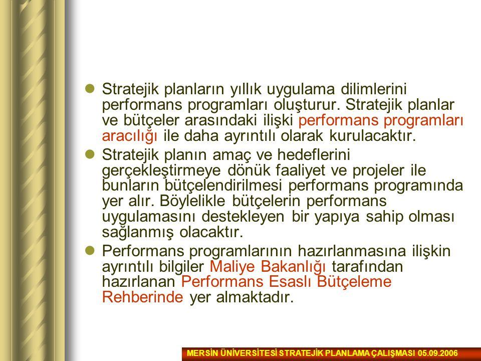 Stratejik planların yıllık uygulama dilimlerini performans programları oluşturur. Stratejik planlar ve bütçeler arasındaki ilişki performans programla