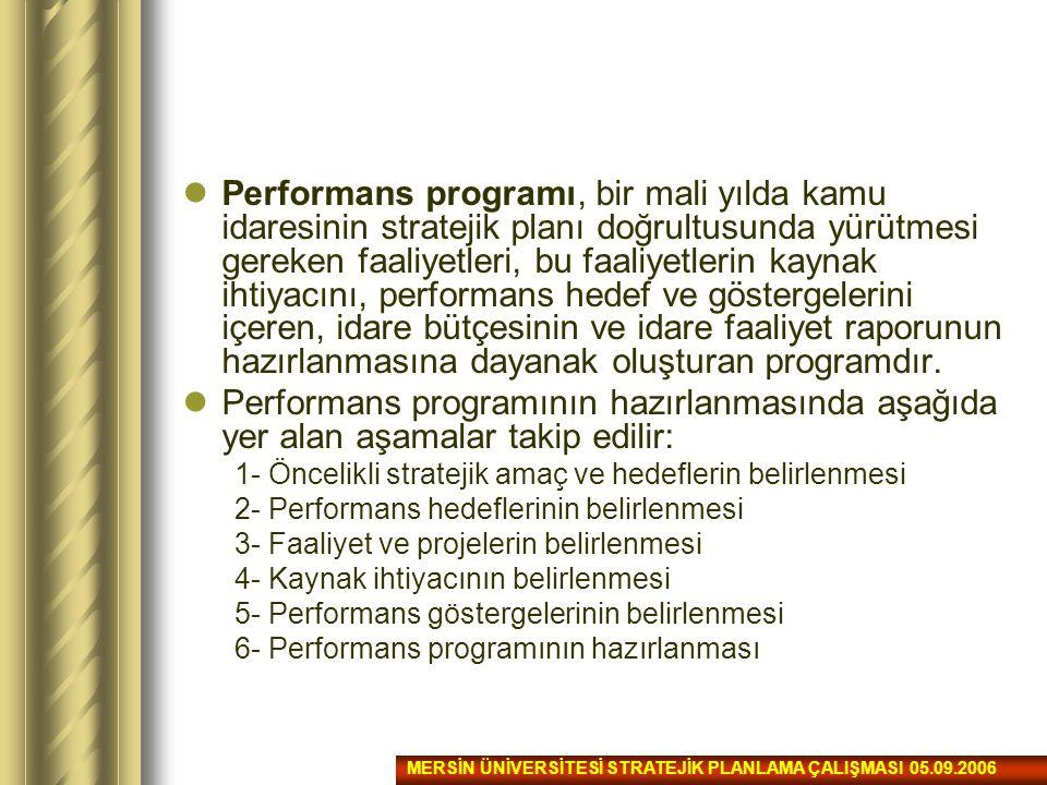 Performans programı, bir mali yılda kamu idaresinin stratejik planı doğrultusunda yürütmesi gereken faaliyetleri, bu faaliyetlerin kaynak ihtiyacını,