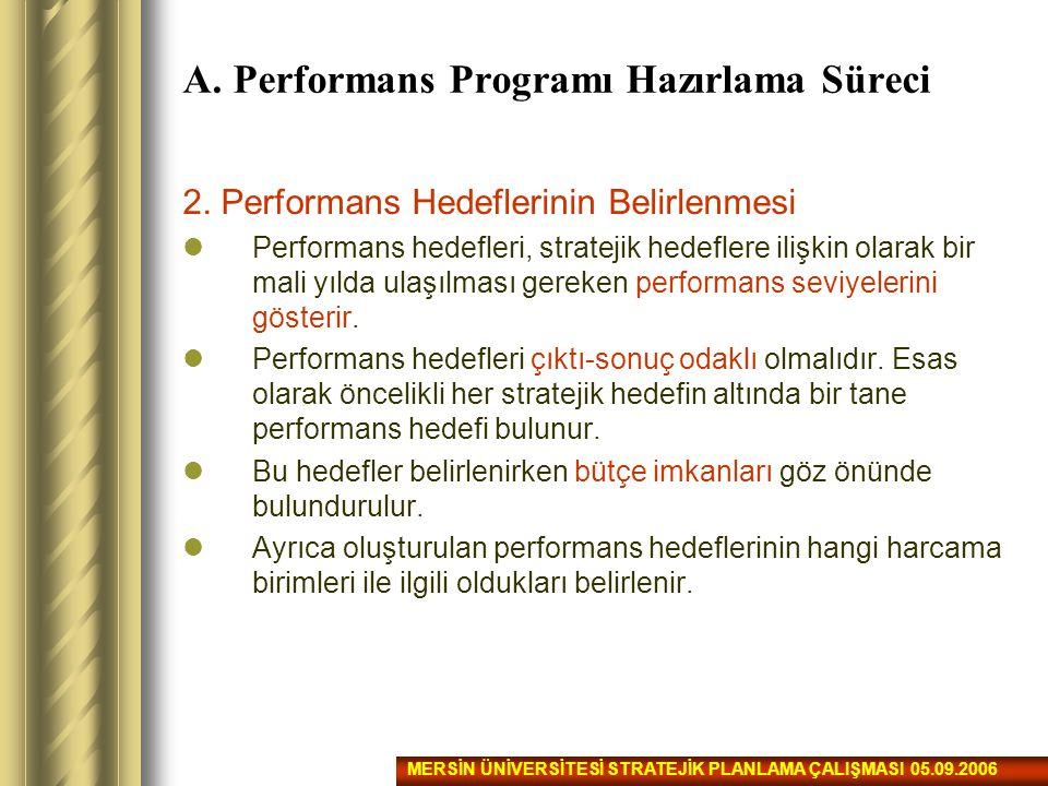 2. Performans Hedeflerinin Belirlenmesi Performans hedefleri, stratejik hedeflere ilişkin olarak bir mali yılda ulaşılması gereken performans seviyele