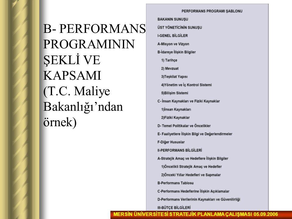 B- PERFORMANS PROGRAMININ ŞEKLİ VE KAPSAMI (T.C. Maliye Bakanlığı'ndan örnek) MERSİN ÜNİVERSİTESİ STRATEJİK PLANLAMA ÇALIŞMASI 05.09.2006