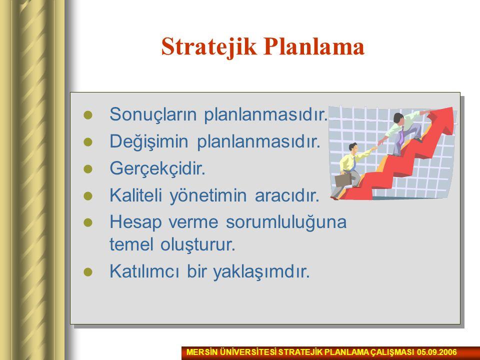 Stratejik Planlama Sonuçların planlanmasıdır. Değişimin planlanmasıdır. Gerçekçidir. Kaliteli yönetimin aracıdır. Hesap verme sorumluluğuna temel oluş
