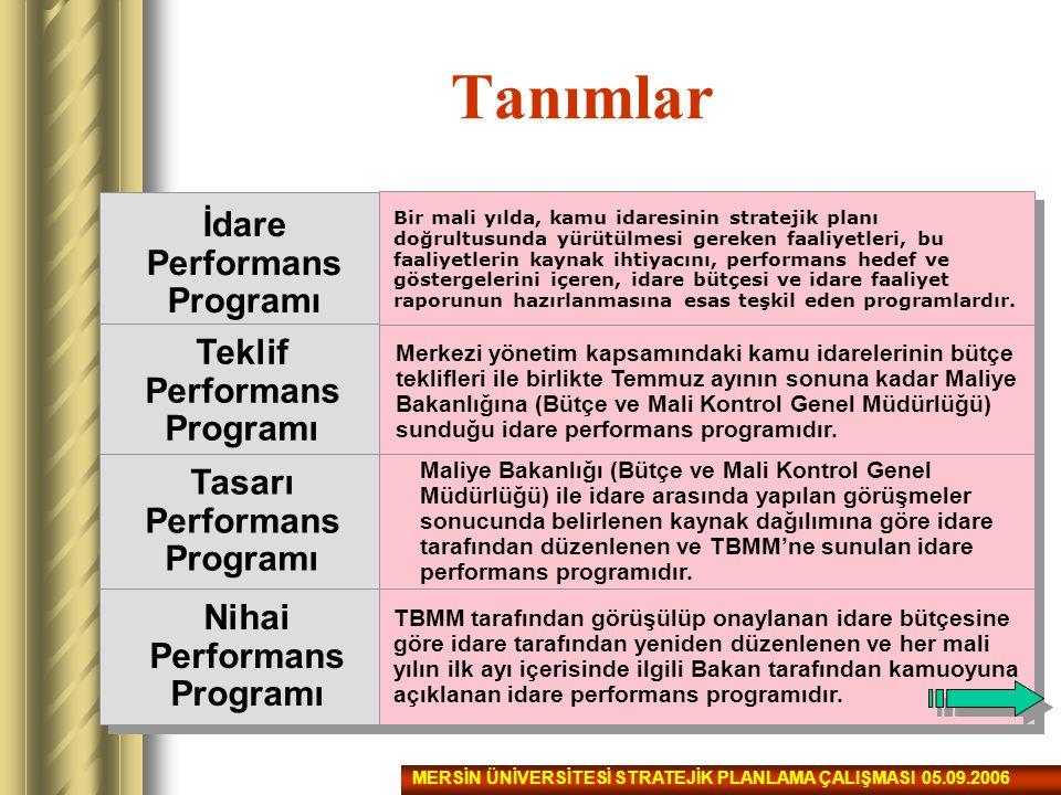 Tanımlar İdare Performans Programı Teklif Performans Programı Tasarı Performans Programı Nihai Performans Programı Bir mali yılda, kamu idaresinin str