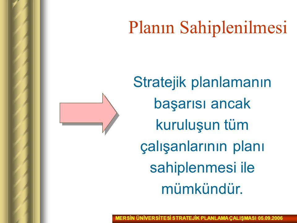 Planın Sahiplenilmesi Stratejik planlamanın başarısı ancak kuruluşun tüm çalışanlarının planı sahiplenmesi ile mümkündür. MERSİN ÜNİVERSİTESİ STRATEJİ