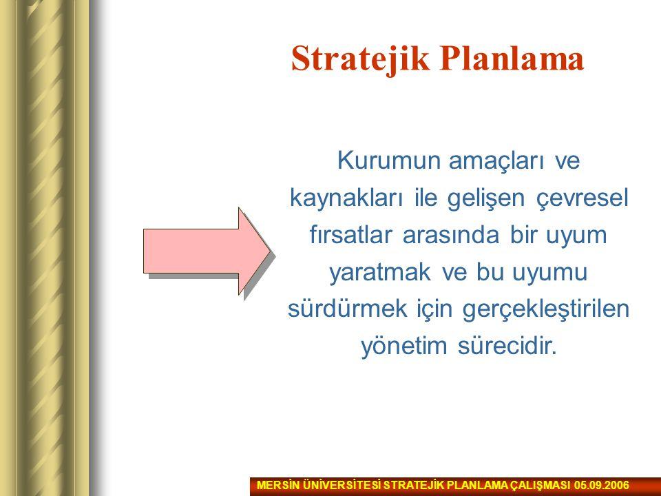 Stratejik Planlama 10/12/2003 tarih ve 5018 sayılı Kamu Mali Yönetimi ve Kontrol Kanunu: Kamu idarelerinin orta ve uzun vadeli amaçlarını, temel ilke ve politikalarını, hedef ve önceliklerini, bunlara ulaşmak için izlenecek yöntemler ile kaynak dağılımlarını içeren plan olarak tanımlamaktadır.