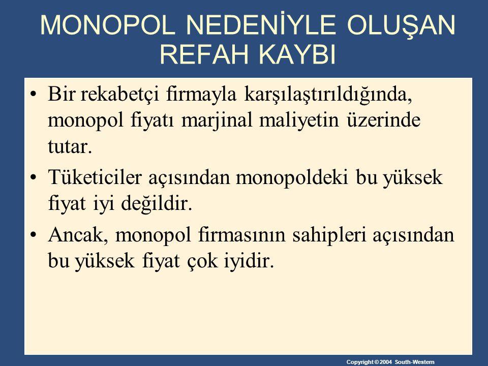 Copyright © 2004 South-Western MONOPOL NEDENİYLE OLUŞAN REFAH KAYBI Bir rekabetçi firmayla karşılaştırıldığında, monopol fiyatı marjinal maliyetin üze