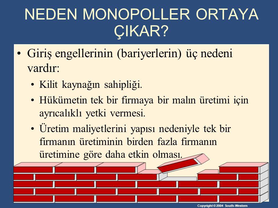 Copyright © 2004 South-Western Monopol Kaynakları Kilit bir kaynağa ayrıcalıklı olarak sahip olmak monopolün potansiyel bir nedenidir.