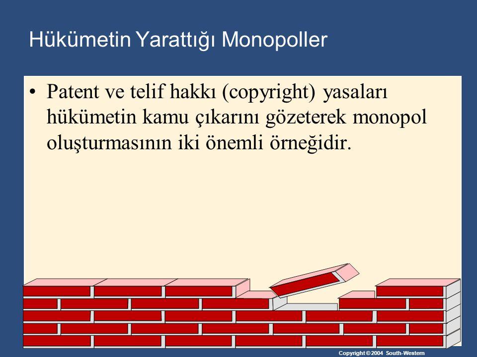 Copyright © 2004 South-Western Doğal Monopoller Bir piyasada tek bir firmanın tüm piyasaya mal sağlaması, iki ya da daha fazla firmanın mal sağlamasından daha az maliyetli ise doğal monopol oluşur.