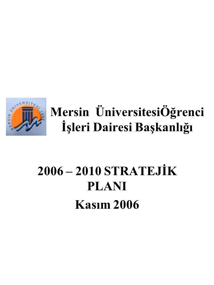 Mersin ÜniversitesiÖğrenci İşleri Dairesi Başkanlığı 2006 – 2010 STRATEJİK PLANI Kasım 2006