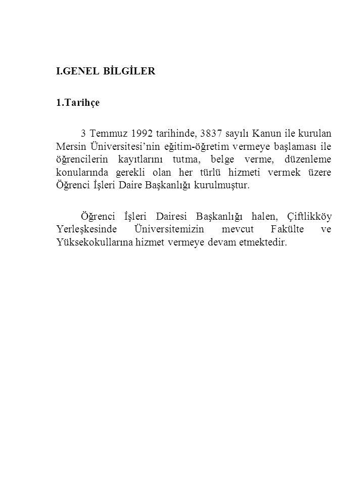 I.GENEL BİLGİLER 1.Tarihçe 3 Temmuz 1992 tarihinde, 3837 sayılı Kanun ile kurulan Mersin Üniversitesi'nin eğitim-öğretim vermeye başlaması ile öğrenci