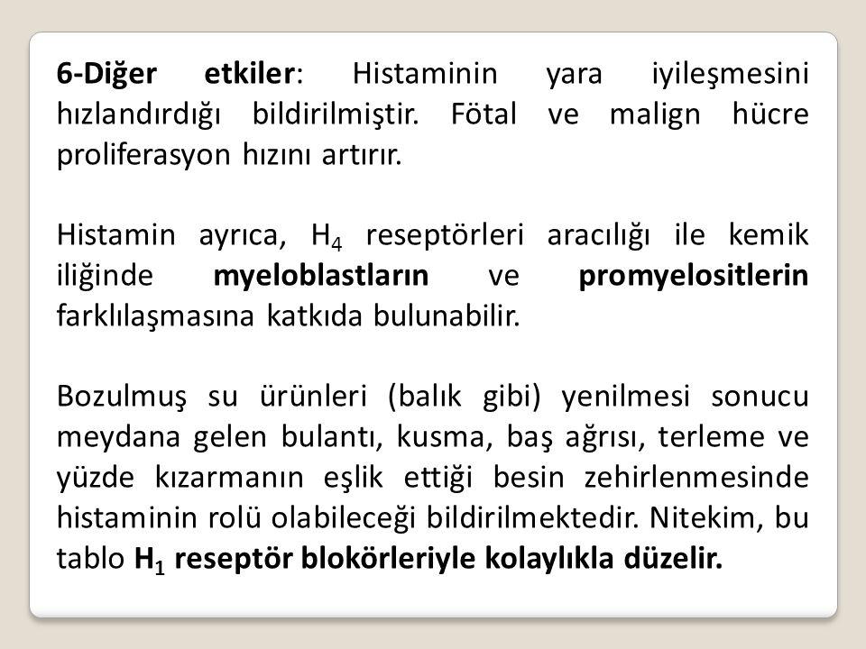 6-Diğer etkiler: Histaminin yara iyileşmesini hızlandırdığı bildirilmiştir. Fötal ve malign hücre proliferasyon hızını artırır. Histamin ayrıca, H 4 r