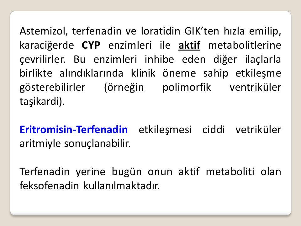 Astemizol, terfenadin ve loratidin GIK'ten hızla emilip, karaciğerde CYP enzimleri ile aktif metabolitlerine çevrilirler. Bu enzimleri inhibe eden diğ