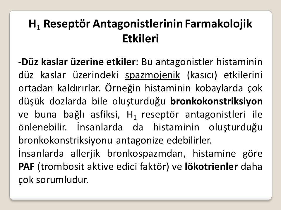 H 1 Reseptör Antagonistlerinin Farmakolojik Etkileri -Düz kaslar üzerine etkiler: Bu antagonistler histaminin düz kaslar üzerindeki spazmojenik (kasıc