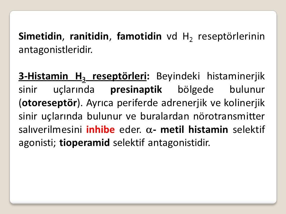 Simetidin, ranitidin, famotidin vd H 2 reseptörlerinin antagonistleridir. 3-Histamin H 3 reseptörleri: Beyindeki histaminerjik sinir uçlarında presina