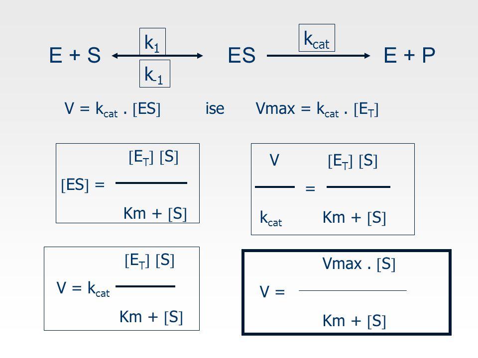 E + S ESE + P k1k1 k -1 k cat V = k cat. ES  iseVmax = k cat.
