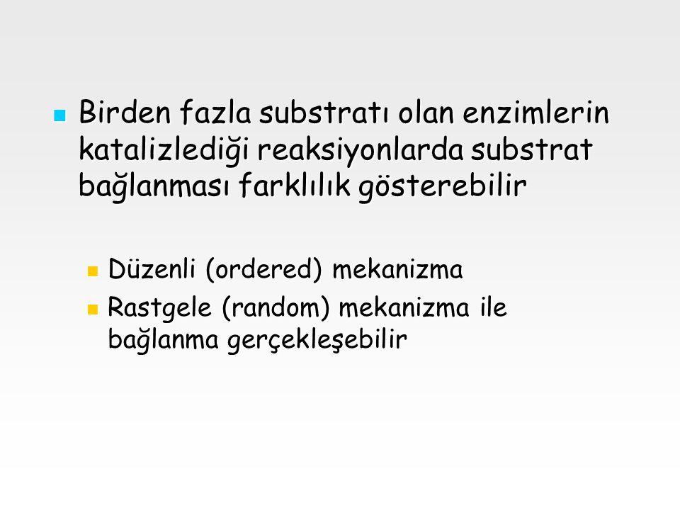 Birden fazla substratı olan enzimlerin katalizlediği reaksiyonlarda substrat bağlanması farklılık gösterebilir Birden fazla substratı olan enzimlerin katalizlediği reaksiyonlarda substrat bağlanması farklılık gösterebilir Düzenli (ordered) mekanizma Düzenli (ordered) mekanizma Rastgele (random) mekanizma ile bağlanma gerçekleşebilir Rastgele (random) mekanizma ile bağlanma gerçekleşebilir