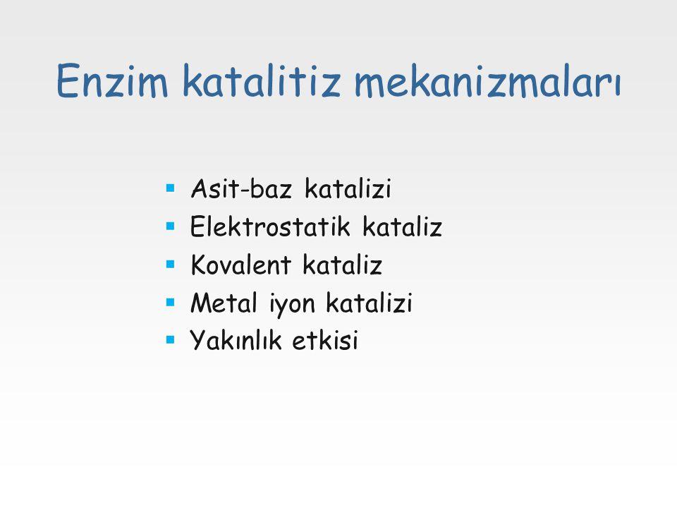 Enzim katalitiz mekanizmaları  Asit-baz katalizi  Elektrostatik kataliz  Kovalent kataliz  Metal iyon katalizi  Yakınlık etkisi