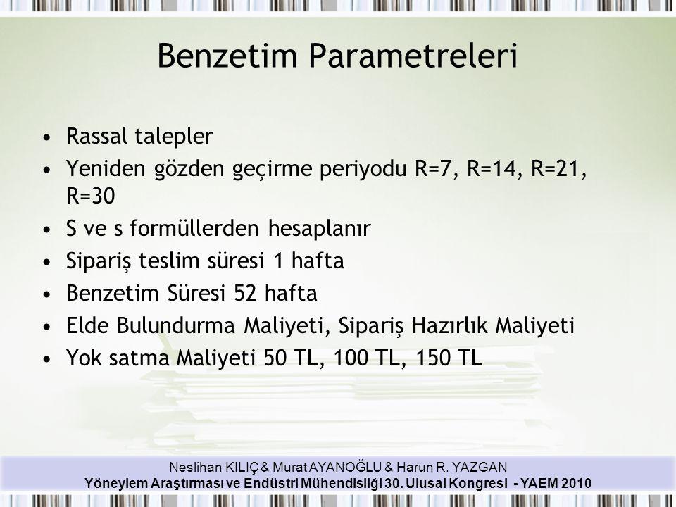 Neslihan KILIÇ & Murat AYANOĞLU & Harun R. YAZGAN Yöneylem Araştırması ve Endüstri Mühendisliği 30. Ulusal Kongresi - YAEM 2010 Benzetim Parametreleri