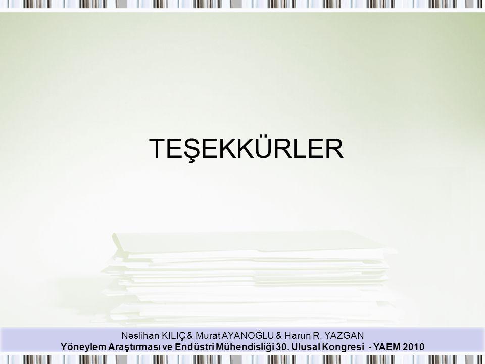 Neslihan KILIÇ & Murat AYANOĞLU & Harun R. YAZGAN Yöneylem Araştırması ve Endüstri Mühendisliği 30. Ulusal Kongresi - YAEM 2010 TEŞEKKÜRLER