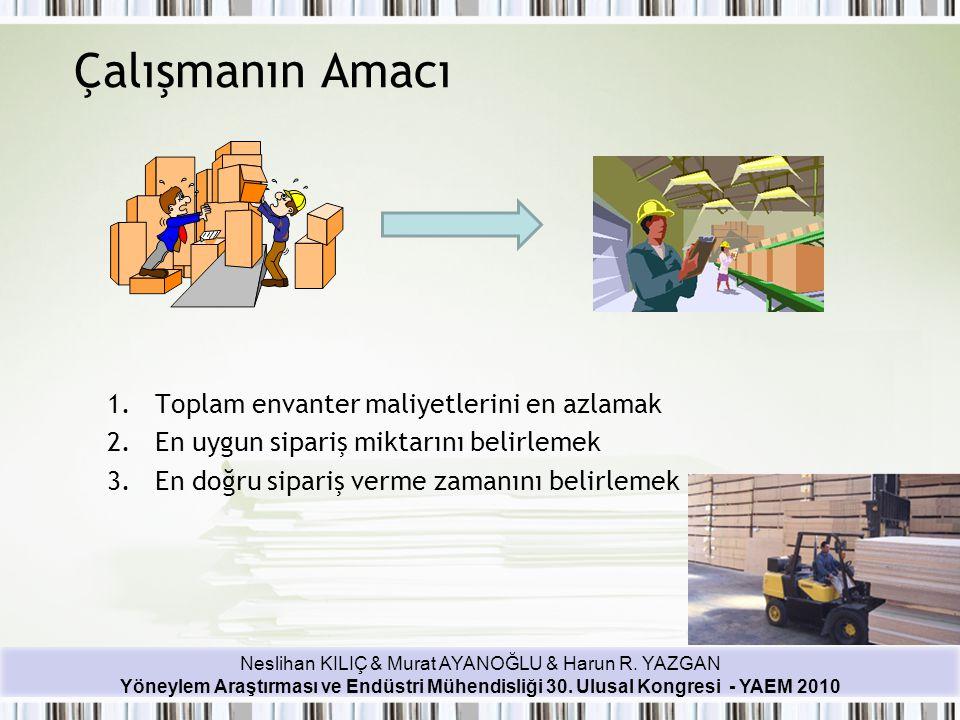 Neslihan KILIÇ & Murat AYANOĞLU & Harun R. YAZGAN Yöneylem Araştırması ve Endüstri Mühendisliği 30. Ulusal Kongresi - YAEM 2010 Çalışmanın Amacı 1.Top