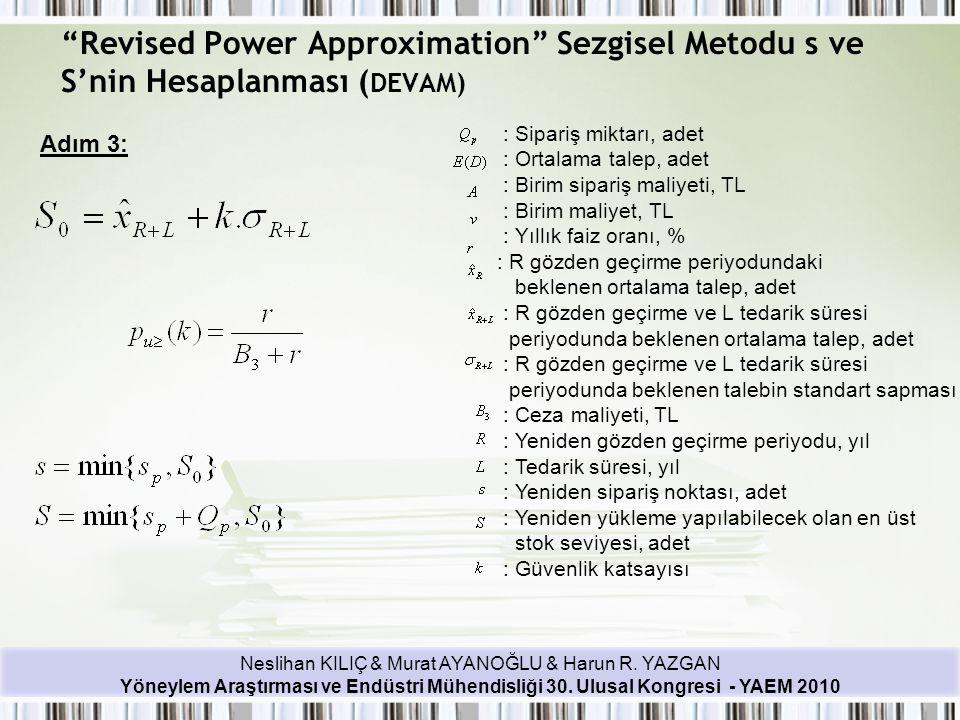 Neslihan KILIÇ & Murat AYANOĞLU & Harun R. YAZGAN Yöneylem Araştırması ve Endüstri Mühendisliği 30. Ulusal Kongresi - YAEM 2010 Adım 3: : Sipariş mikt