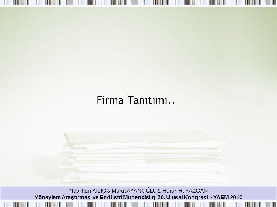 Neslihan KILIÇ & Murat AYANOĞLU & Harun R. YAZGAN Yöneylem Araştırması ve Endüstri Mühendisliği 30. Ulusal Kongresi - YAEM 2010 Firma Tanıtımı..