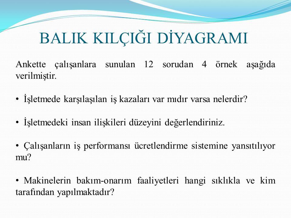 Ankette çalışanlara sunulan 12 sorudan 4 örnek aşağıda verilmiştir.