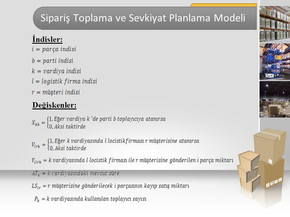Sipariş Toplama ve Sevkiyat Planlama Modeli İndisler: Değişkenler: