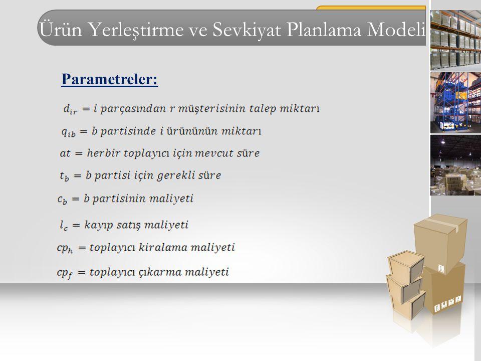 Ürün Yerleştirme ve Sevkiyat Planlama Modeli Parametreler: