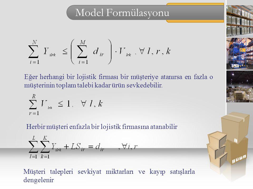 Model Formülasyonu Eğer herhangi bir lojistik firması bir müşteriye atanırsa en fazla o müşterinin toplam talebi kadar ürün sevkedebilir. Müşteri tale