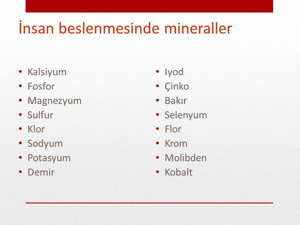 Mineraller İhtiyaç 100 mg ya da daha fazla ise makromineral ya da majör mineral olarak adlandırılır.