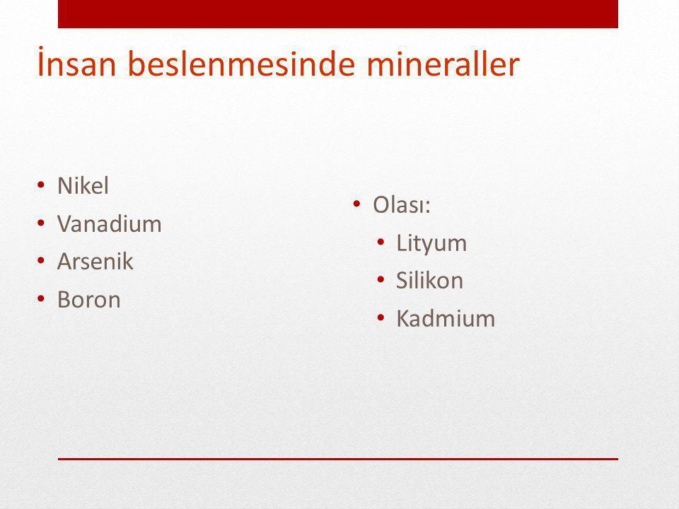 İnsan beslenmesinde mineraller Kalsiyum Fosfor Magnezyum Sulfur Klor Sodyum Potasyum Demir Iyod Çinko Bakır Selenyum Flor Krom Molibden Kobalt