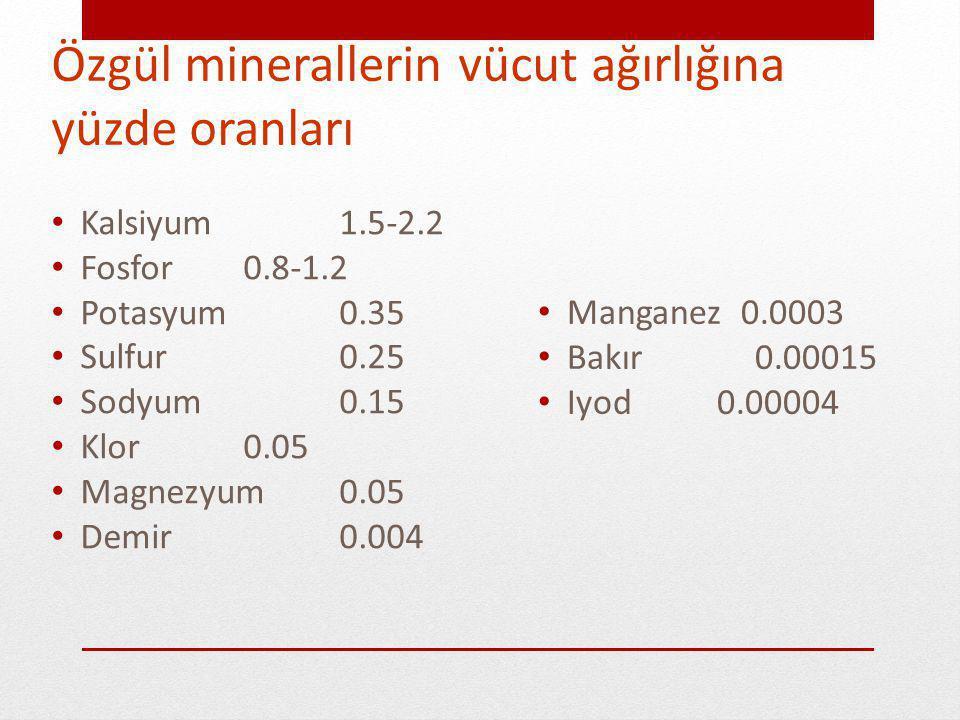 Özgül minerallerin vücut ağırlığına yüzde oranları Kalsiyum1.5-2.2 Fosfor 0.8-1.2 Potasyum 0.35 Sulfur 0.25 Sodyum 0.15 Klor 0.05 Magnezyum 0.05 Demir 0.004 Manganez 0.0003 Bakır 0.00015 Iyod 0.00004