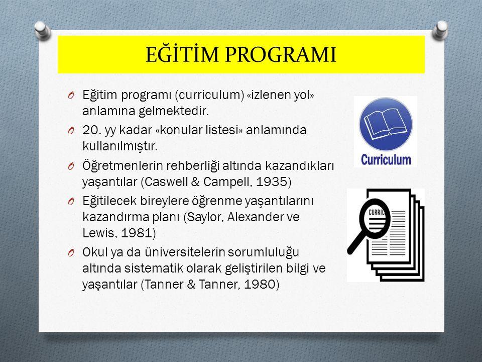 EĞİTİM PROGRAMI O Eğitim programı (curriculum) «izlenen yol» anlamına gelmektedir. O 20. yy kadar «konular listesi» anlamında kullanılmıştır. O Öğretm