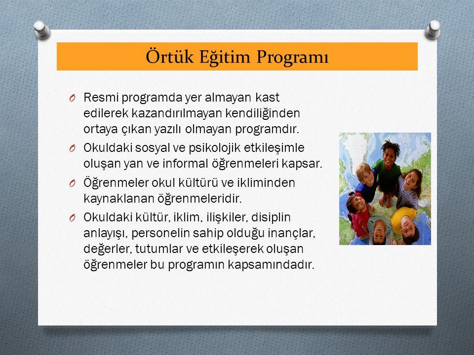 Örtük Eğitim Programı O Resmi programda yer almayan kast edilerek kazandırılmayan kendiliğinden ortaya çıkan yazılı olmayan programdır. O Okuldaki sos