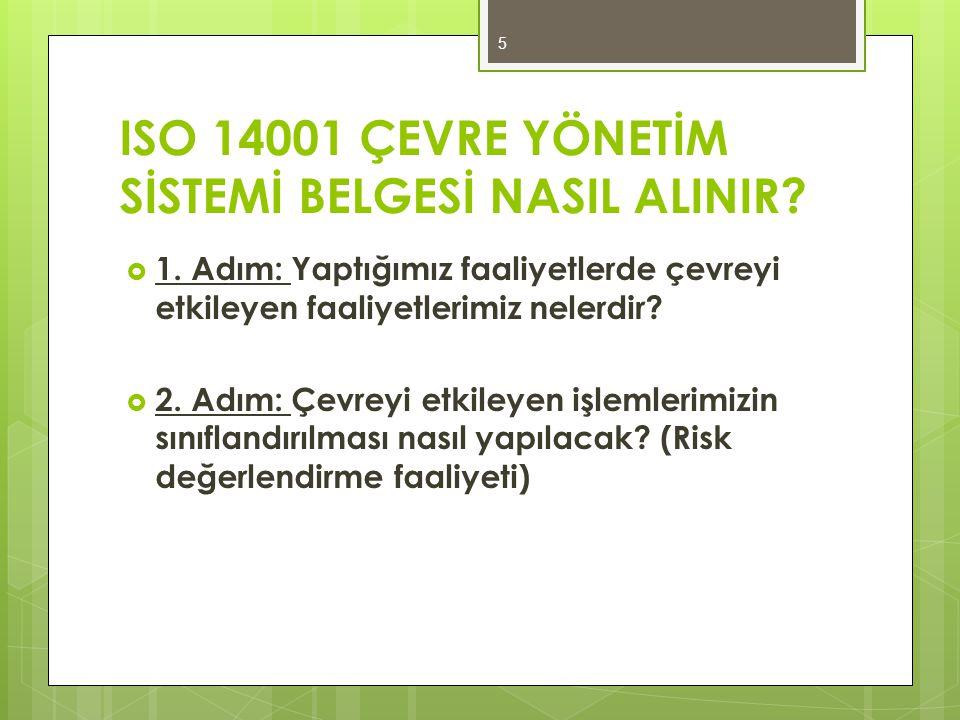 ISO 14001 ÇEVRE YÖNETİM SİSTEMİ BELGESİ NASIL ALINIR?  1. Adım: Yaptığımız faaliyetlerde çevreyi etkileyen faaliyetlerimiz nelerdir?  2. Adım: Çevre