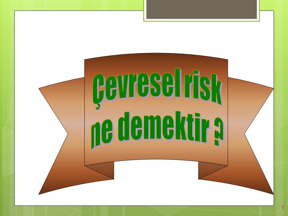 18 B) Riski Tahmin Etme : Tehlikelerin tanımlanmasından sonra, tehlikelerin doğasının, mekanizmasının ve dikkate değer tehlikelerin sonuçlarının anlaşılması için de çeşitli metodlara ihtiyaç duyulur.