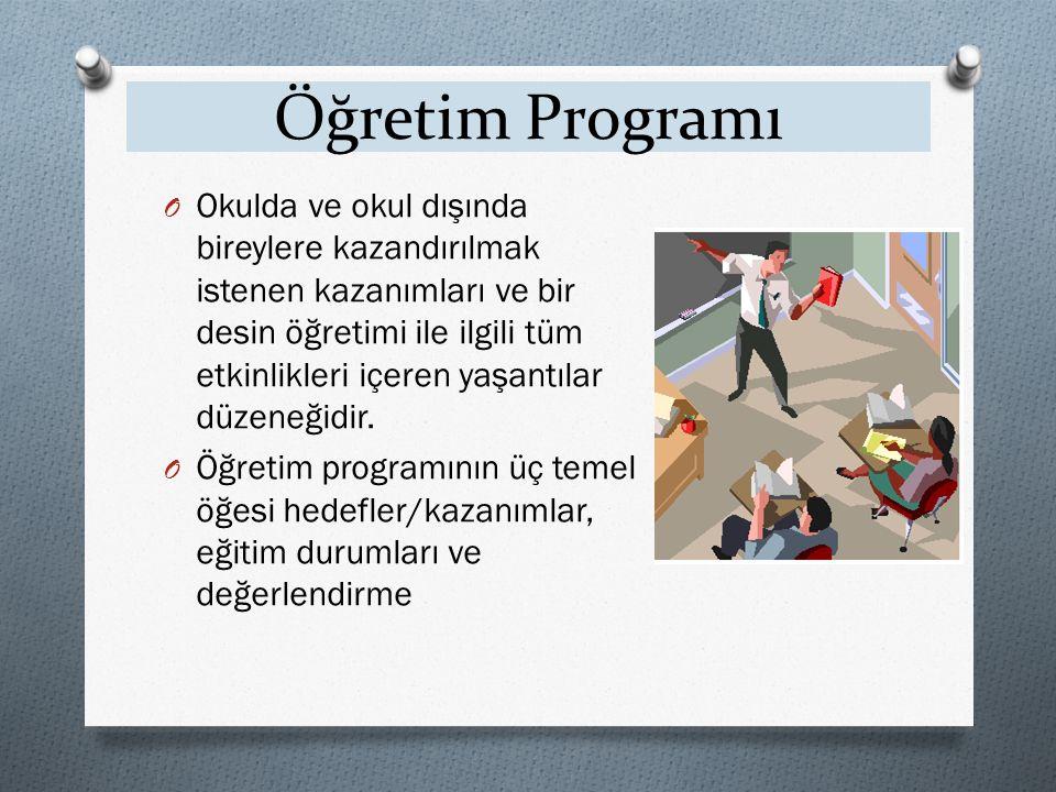 Öğretim Programı O Okulda ve okul dışında bireylere kazandırılmak istenen kazanımları ve bir desin öğretimi ile ilgili tüm etkinlikleri içeren yaşantılar düzeneğidir.