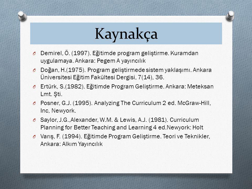 Kaynakça O Demirel, Ö. (1997). Eğitimde program geliştirme. Kuramdan uygulamaya. Ankara: Pegem A yayıncılık O Doğan, H.(1975). Program geliştirmede si