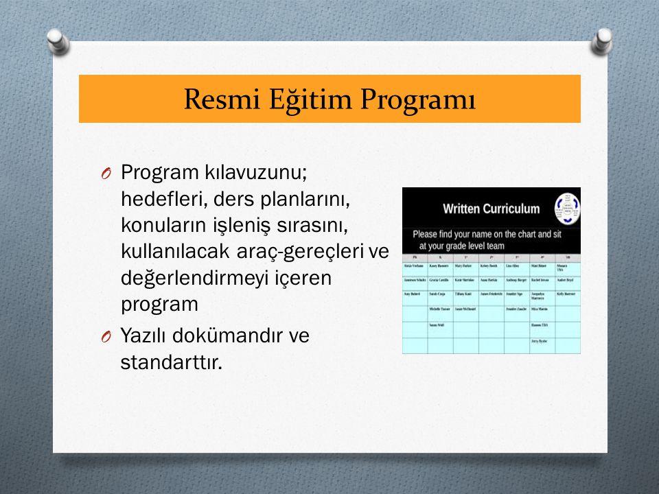 Resmi Eğitim Programı O Program kılavuzunu; hedefleri, ders planlarını, konuların işleniş sırasını, kullanılacak araç-gereçleri ve değerlendirmeyi içeren program O Yazılı dokümandır ve standarttır.