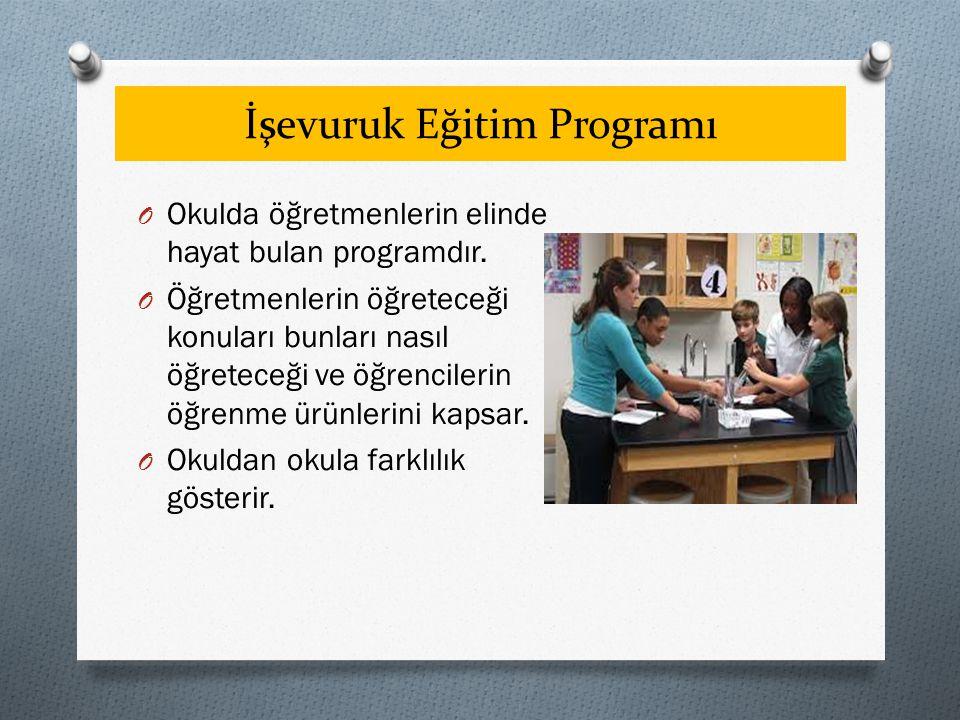 İşevuruk Eğitim Programı O Okulda öğretmenlerin elinde hayat bulan programdır. O Öğretmenlerin öğreteceği konuları bunları nasıl öğreteceği ve öğrenci