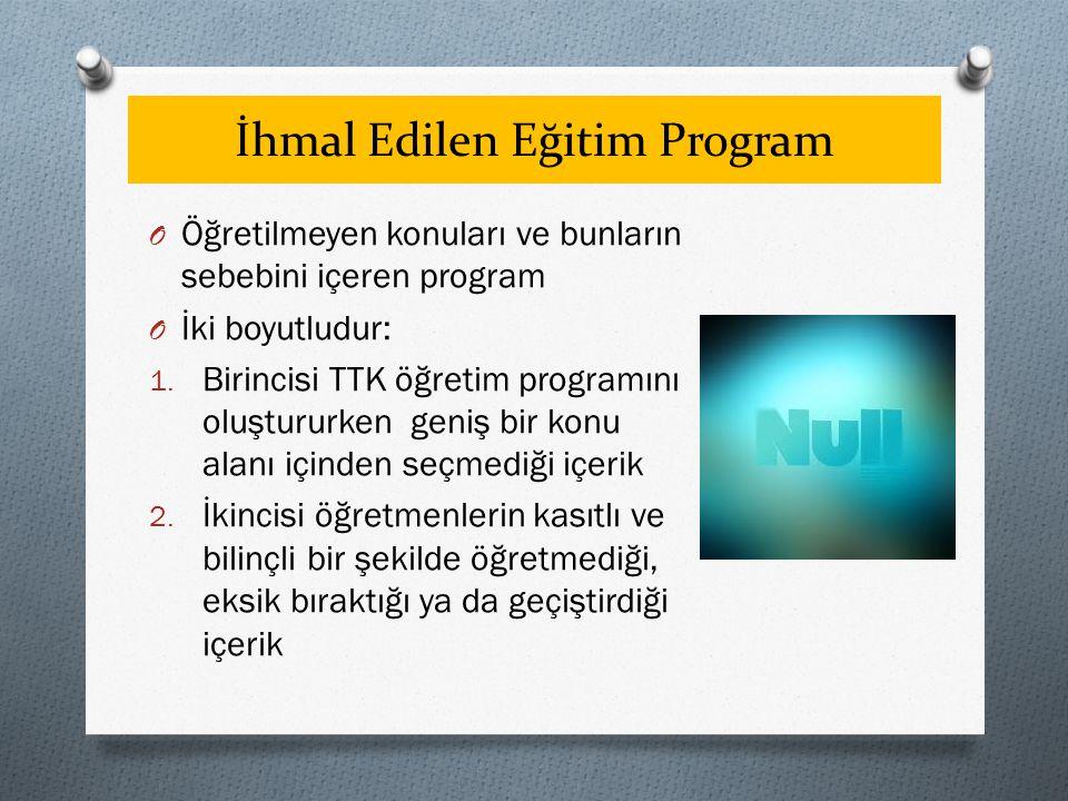İhmal Edilen Eğitim Program O Öğretilmeyen konuları ve bunların sebebini içeren program O İki boyutludur: 1.