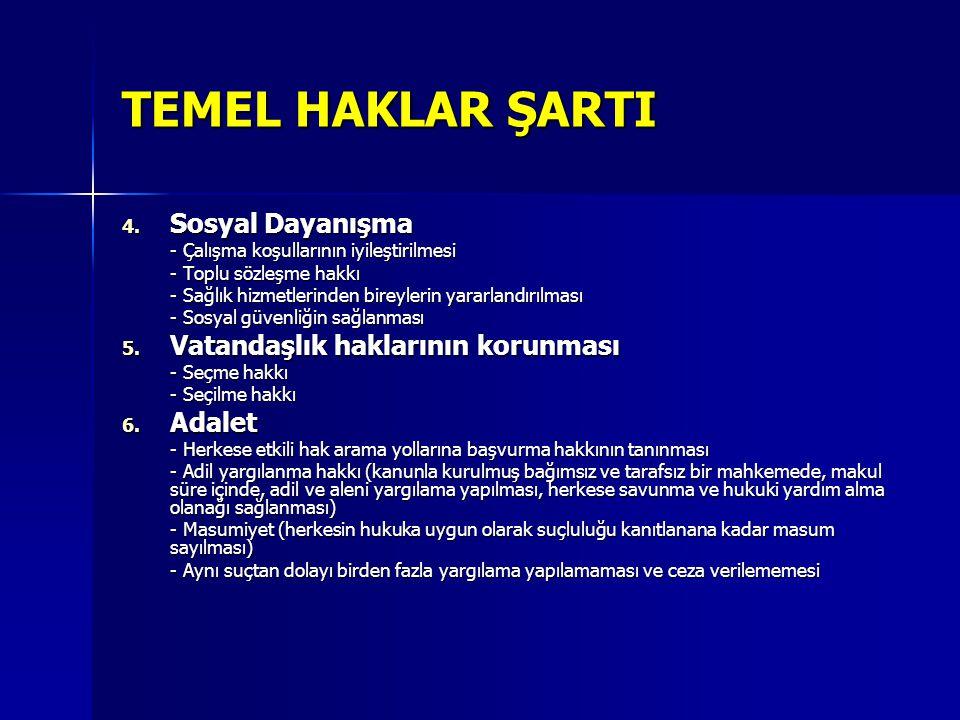 TEMEL HAKLAR ŞARTI 4. Sosyal Dayanışma - Çalışma koşullarının iyileştirilmesi - Toplu sözleşme hakkı - Sağlık hizmetlerinden bireylerin yararlandırılm